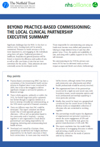 Beyond practice-based commissioning: the local clinical partnership