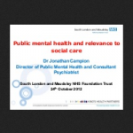 Public mental health and relevance to social care