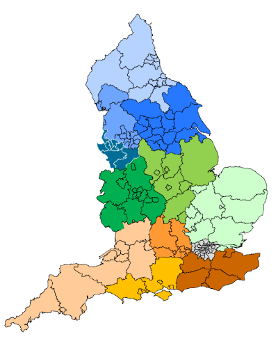 Map of Clinical Commissioning Groups by Strategic Clinical Network footprint